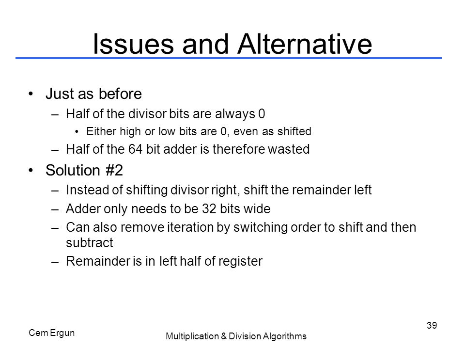 Issues and Alternative