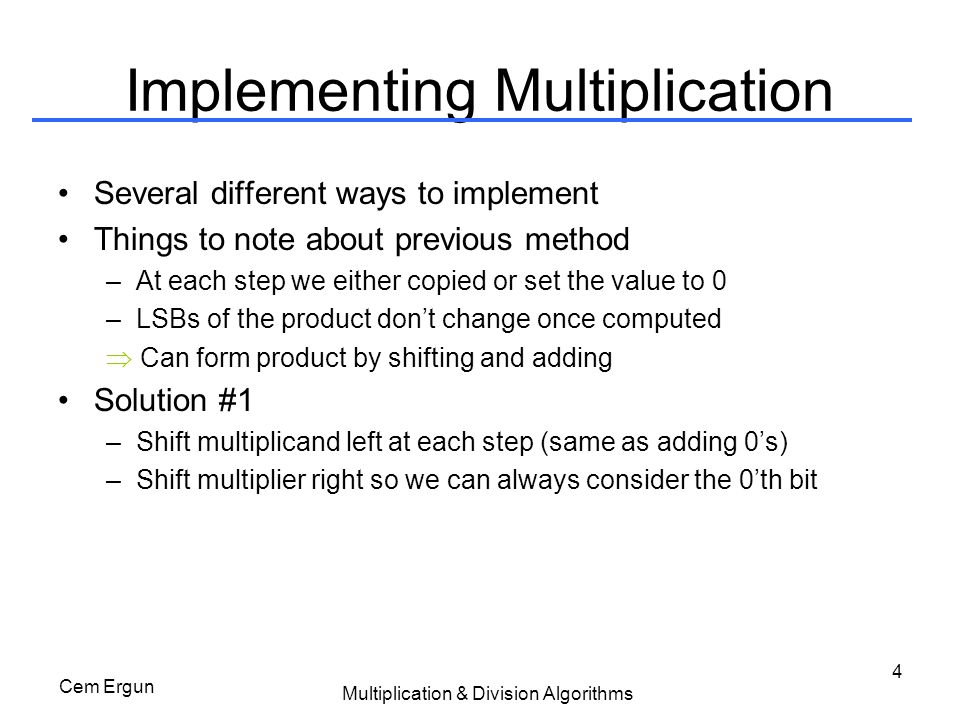 Implementing Multiplication