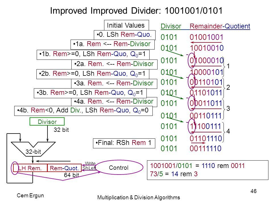 Improved Improved Divider: 1001001/0101