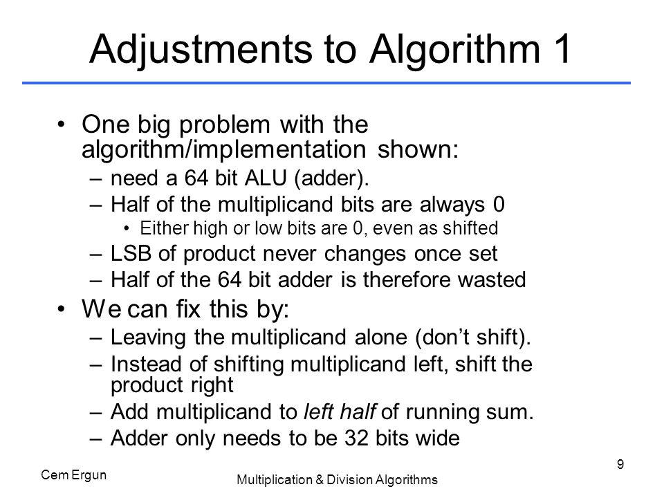 Adjustments to Algorithm 1