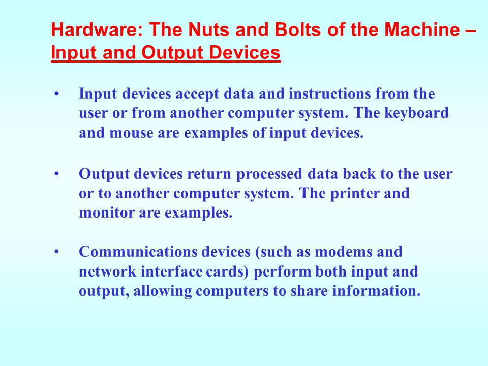 Hardware: The Nuts and Bolts of the Machine – Input and Output Devices