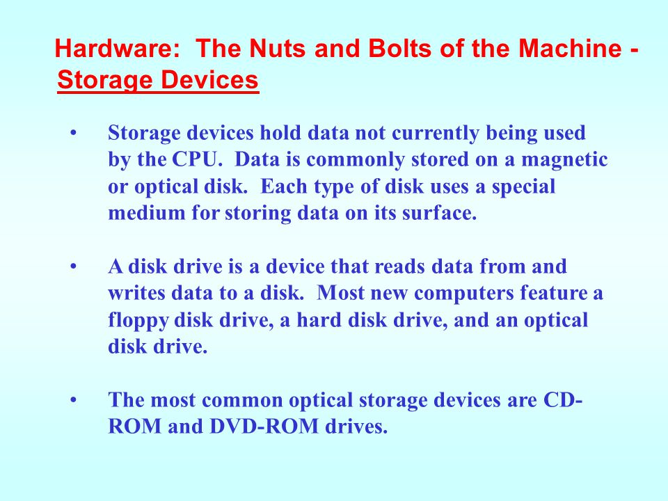 Hardware: The Nuts and Bolts of the Machine -