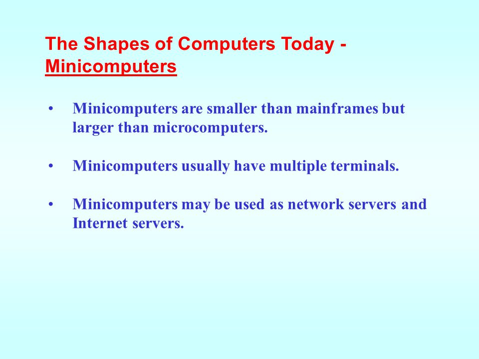 The Shapes of Computers Today - Minicomputers