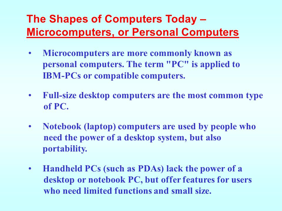 The Shapes of Computers Today – Microcomputers, or Personal Computers