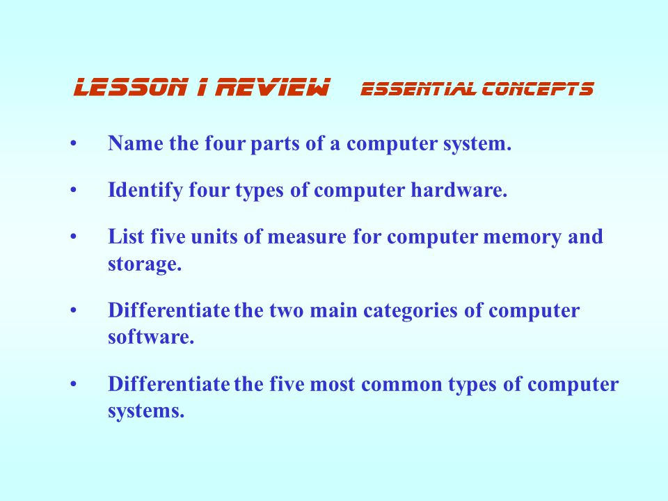 lesson 1 review Essential concepts