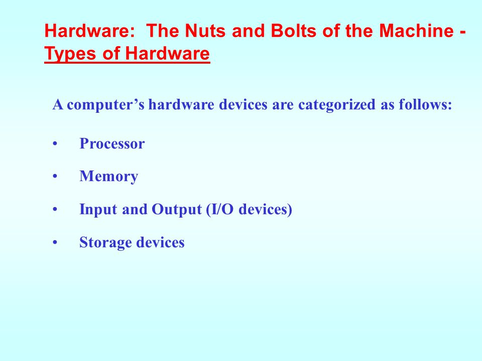 Hardware: The Nuts and Bolts of the Machine - Types of Hardware