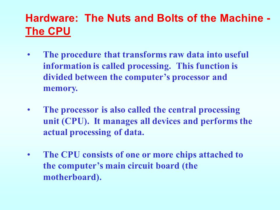 Hardware: The Nuts and Bolts of the Machine - The CPU