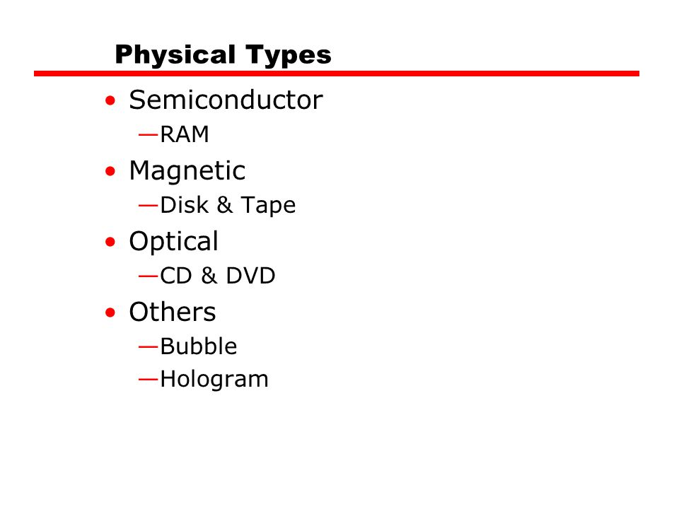 Physical Types Semiconductor Magnetic Optical Others RAM Disk & Tape