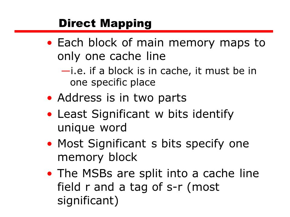 Each block of main memory maps to only one cache line