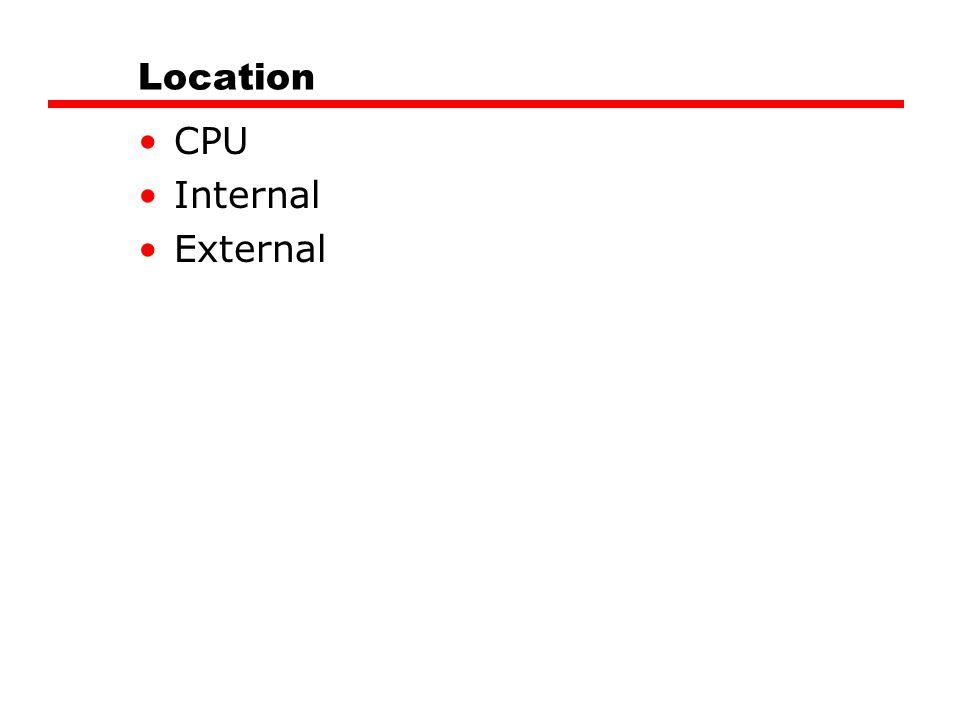Location CPU Internal External