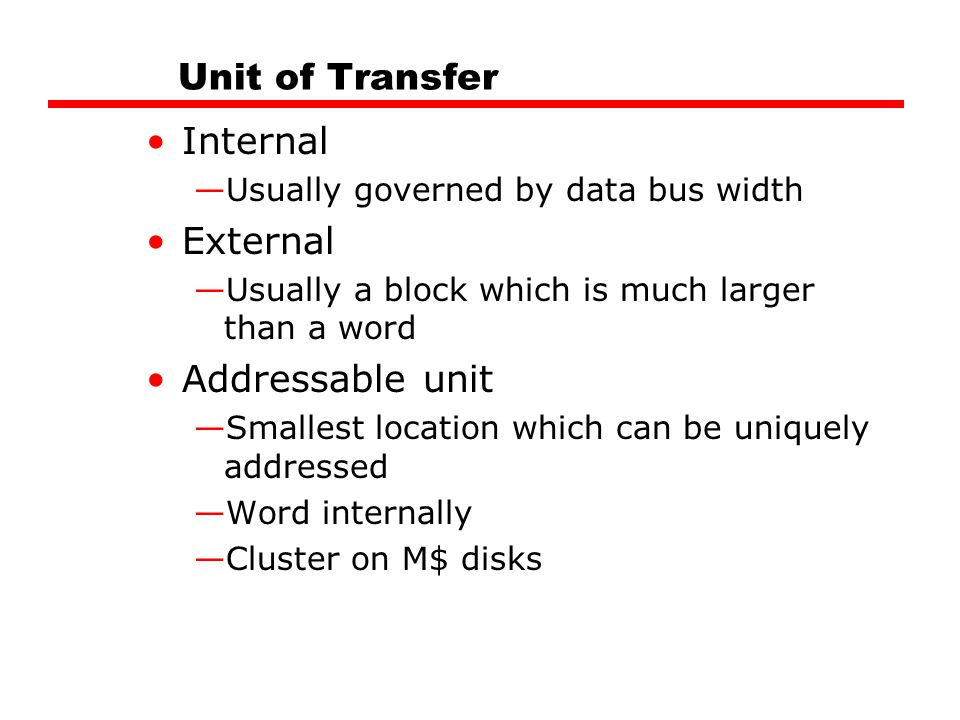 Unit of Transfer Internal External Addressable unit