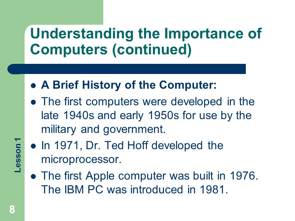 Understanding the Importance of Computers (continued)