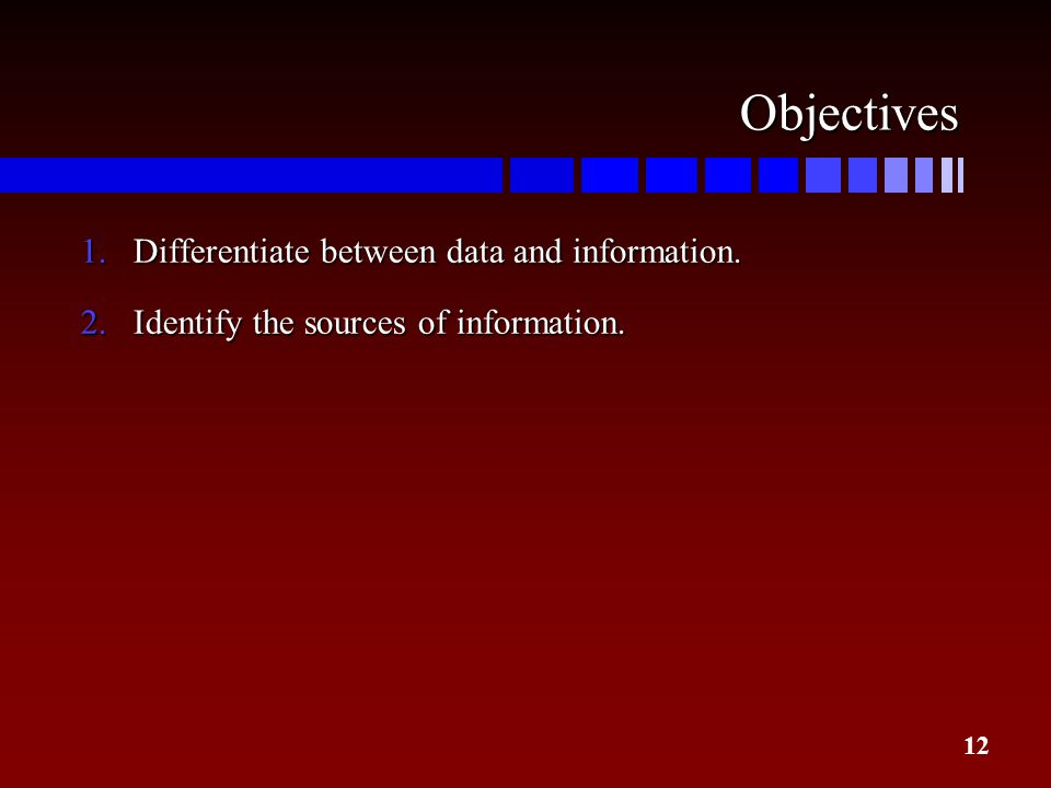 Objectives Differentiate between data and information.