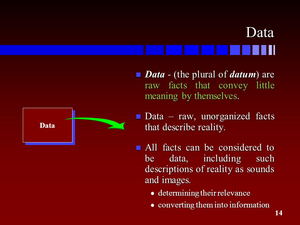 Data Data - (the plural of datum) are raw facts that convey little meaning by themselves. Data – raw, unorganized facts that describe reality.