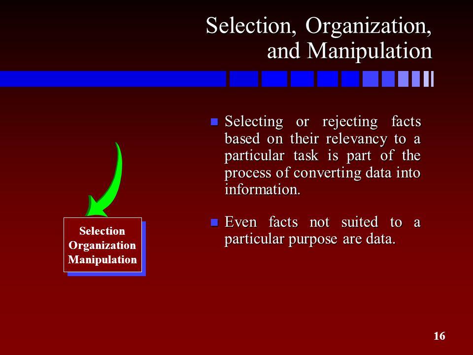 Selection, Organization, and Manipulation
