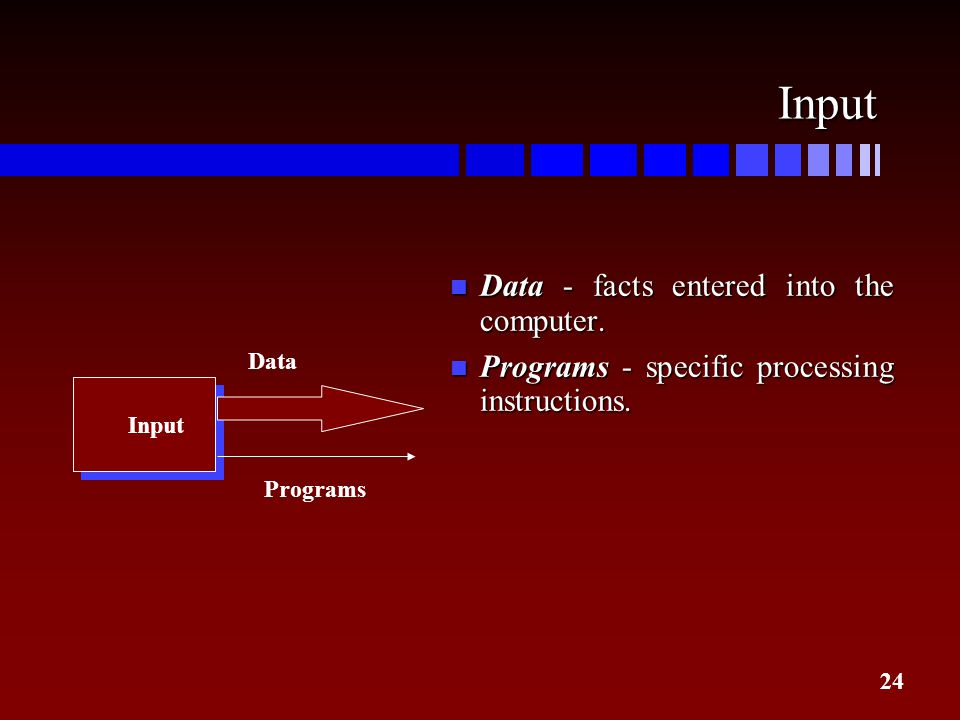 Input Data - facts entered into the computer.