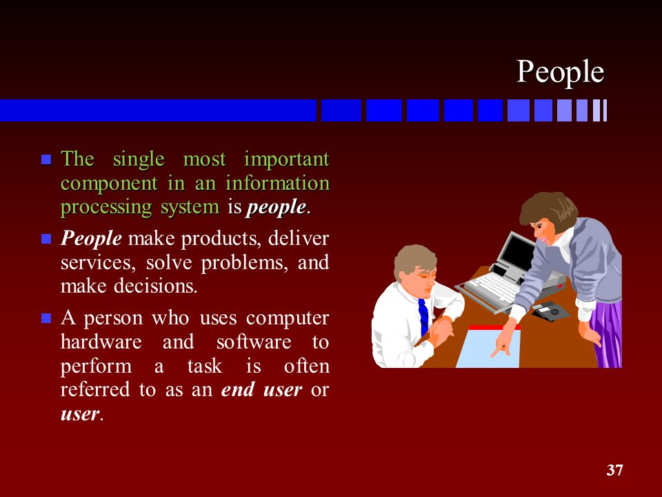 People The single most important component in an information processing system is people.