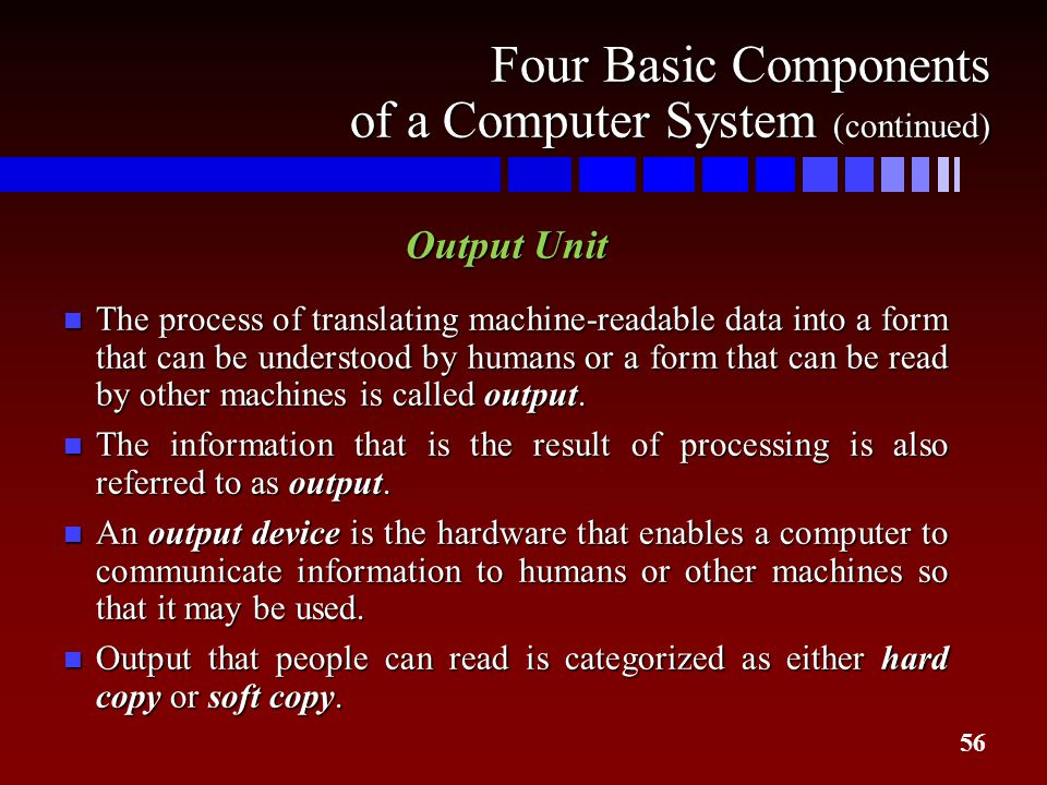 Four Basic Components of a Computer System (continued)