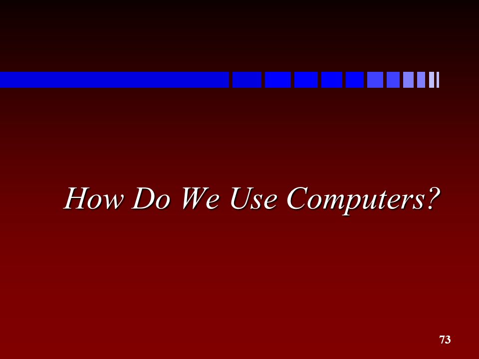 How Do We Use Computers