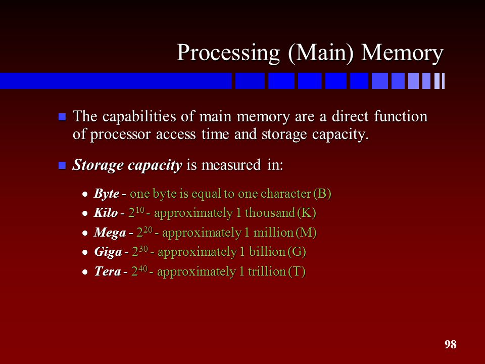 Processing (Main) Memory