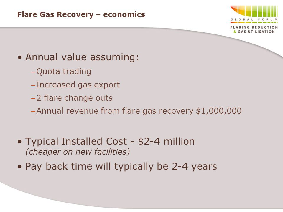Flare Gas Recovery – economics