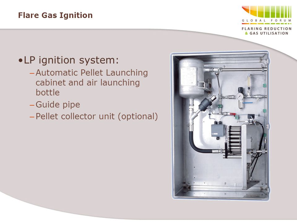 Flare Gas Ignition LP ignition system: Automatic Pellet Launching cabinet and air launching bottle.