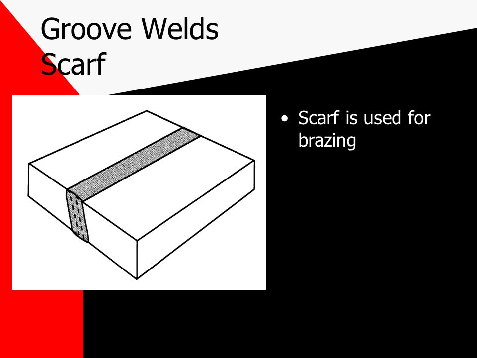 Groove Welds Scarf Scarf is used for brazing