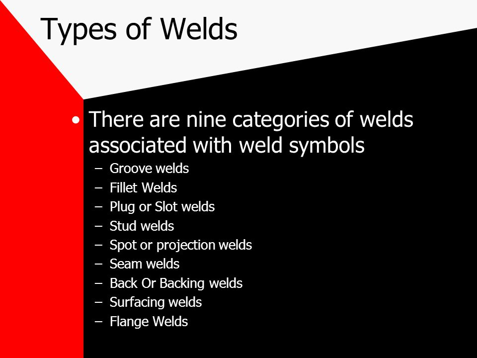 Types of Welds There are nine categories of welds associated with weld symbols. Groove welds. Fillet Welds.