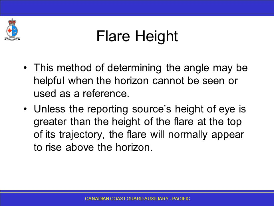Flare Height This method of determining the angle may be helpful when the horizon cannot be seen or used as a reference.