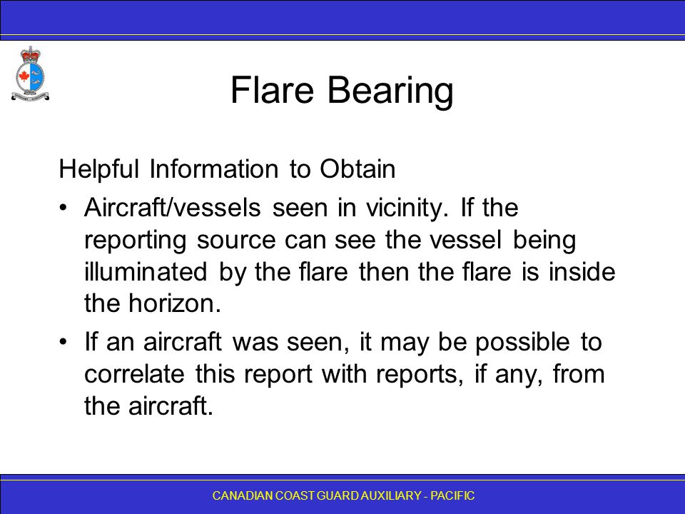 Flare Bearing Helpful Information to Obtain