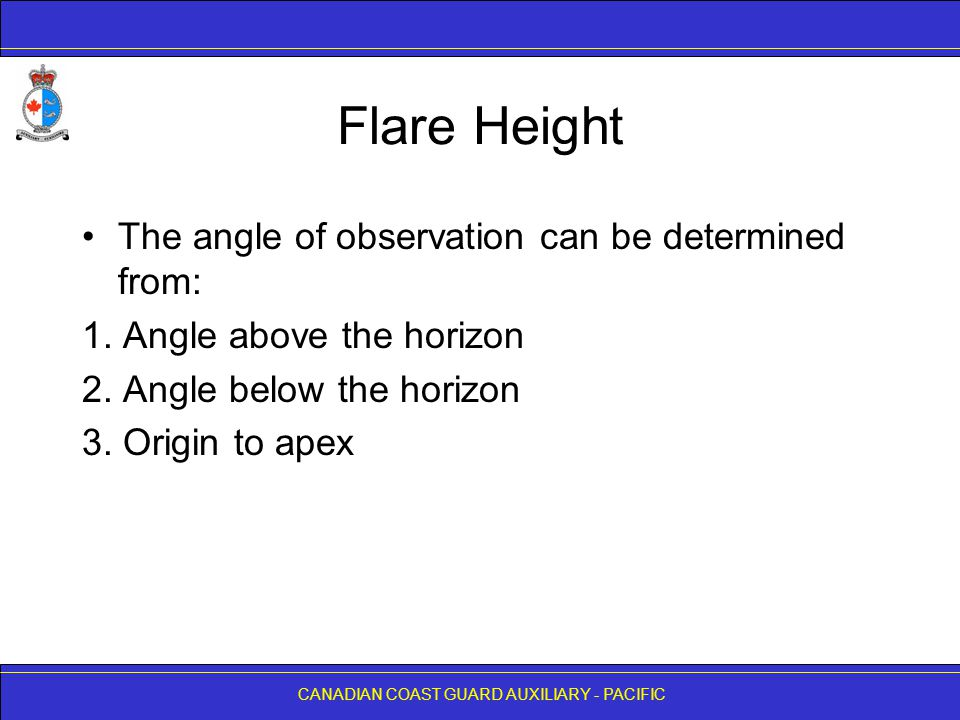 Flare Height The angle of observation can be determined from: