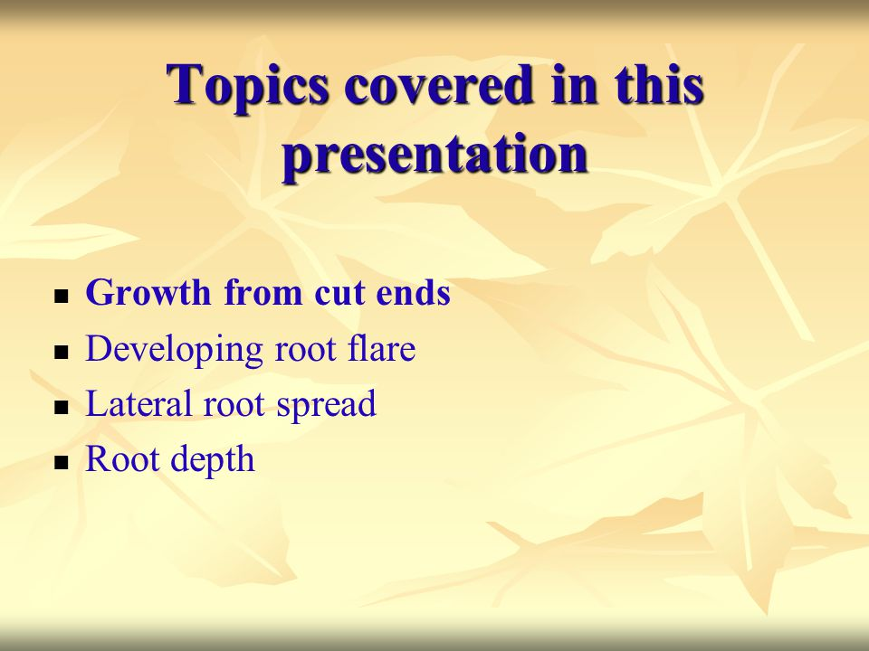 Topics covered in this presentation