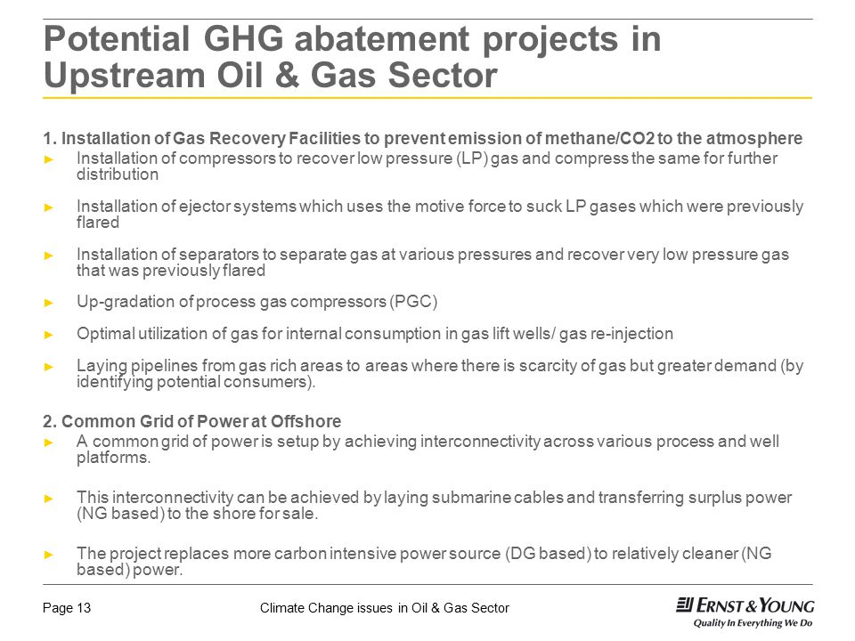 Potential GHG abatement projects in Upstream Oil & Gas Sector