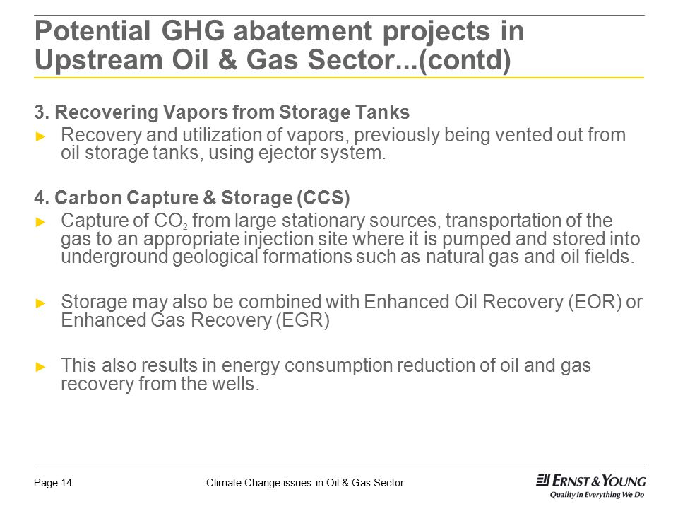 Potential GHG abatement projects in Upstream Oil & Gas Sector...(contd)
