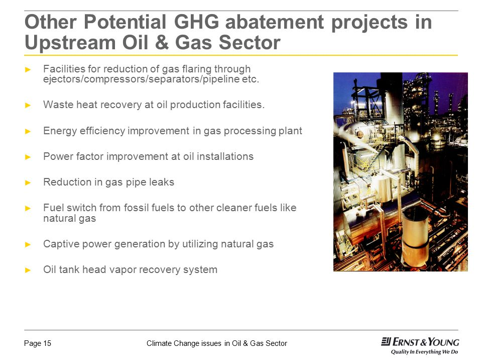 Other Potential GHG abatement projects in Upstream Oil & Gas Sector