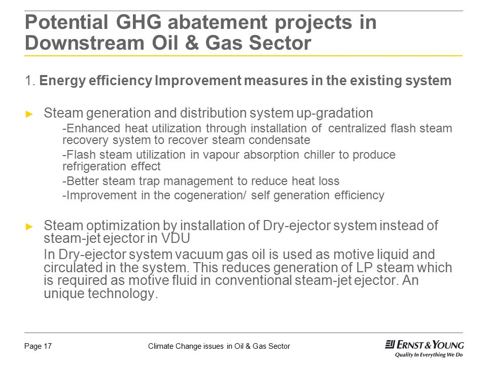Potential GHG abatement projects in Downstream Oil & Gas Sector