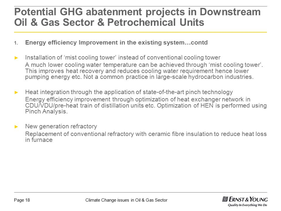 Potential GHG abatenment projects in Downstream Oil & Gas Sector & Petrochemical Units