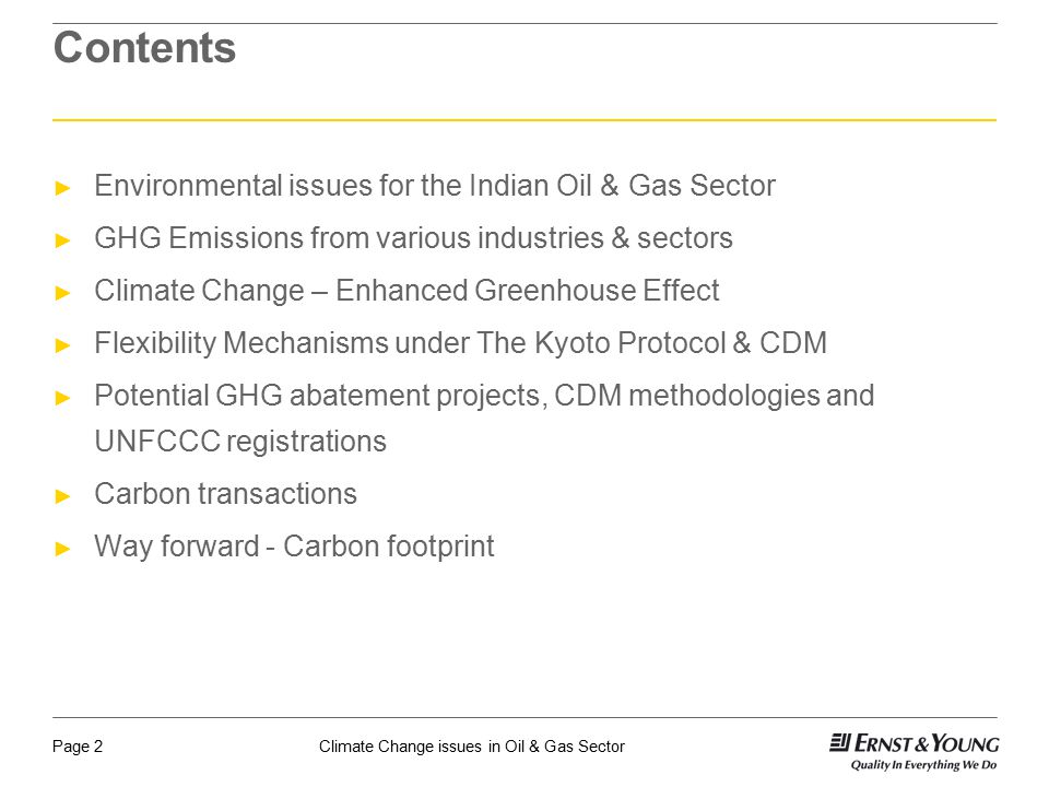 Contents Environmental issues for the Indian Oil & Gas Sector