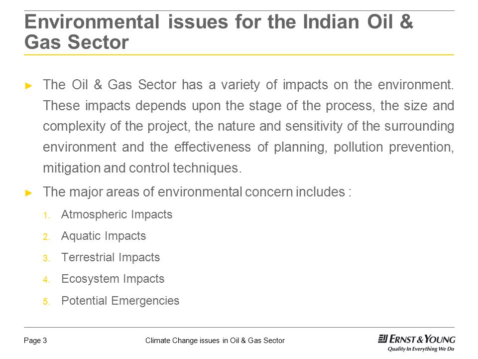 Environmental issues for the Indian Oil & Gas Sector