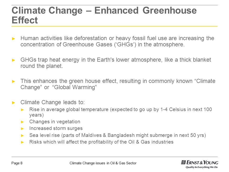 Climate Change – Enhanced Greenhouse Effect
