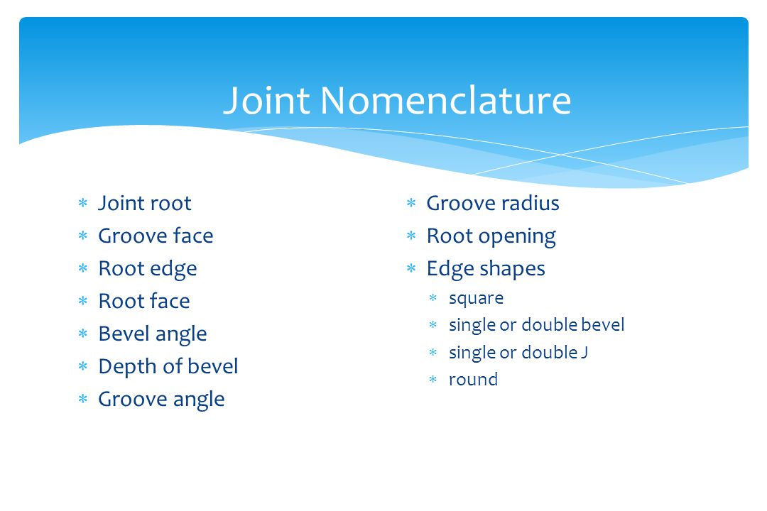 Joint Nomenclature Joint root Groove face Root edge Root face