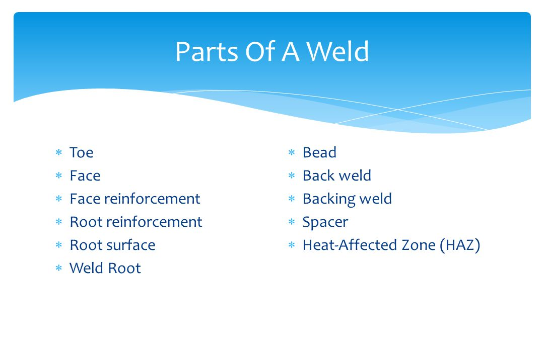 Parts Of A Weld Toe Face Face reinforcement Root reinforcement