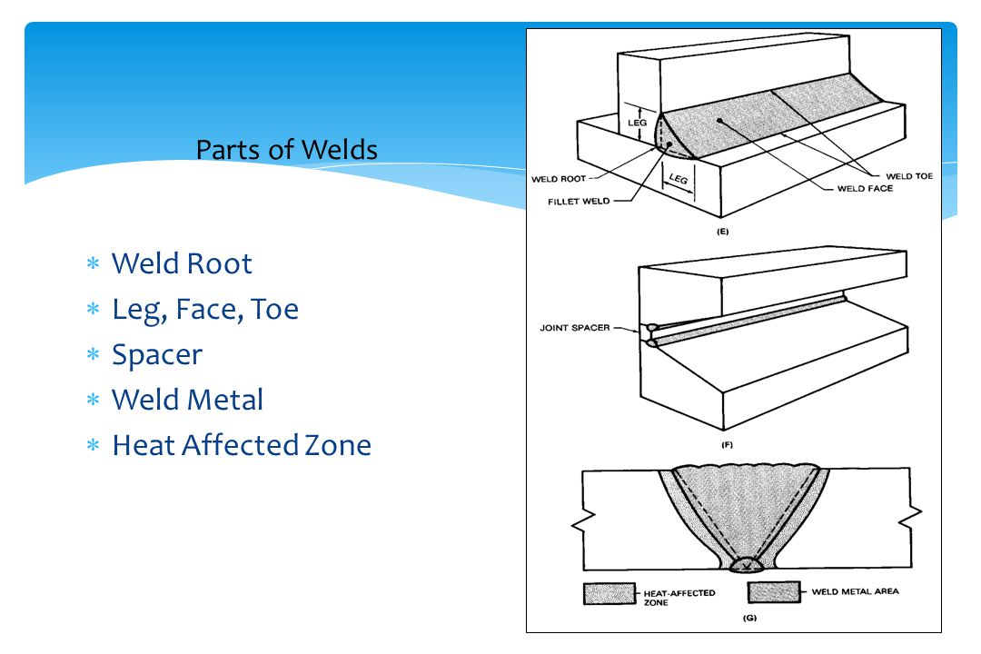 Parts of Welds Weld Root Leg, Face, Toe Spacer Weld Metal