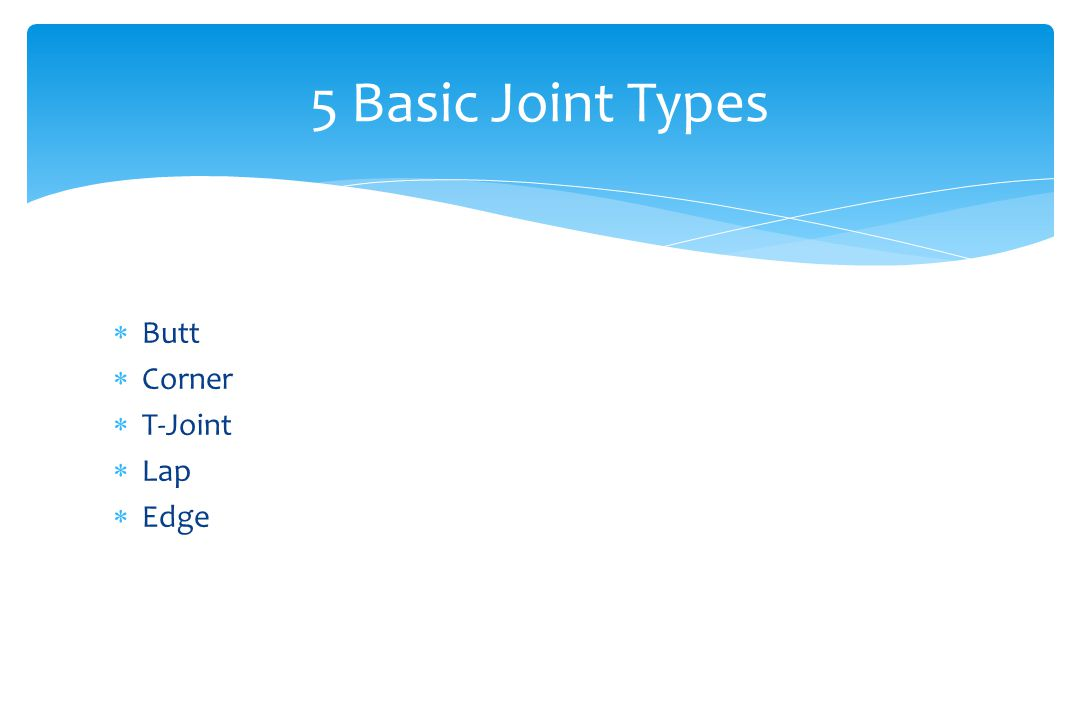 5 Basic Joint Types Butt Corner T-Joint Lap Edge