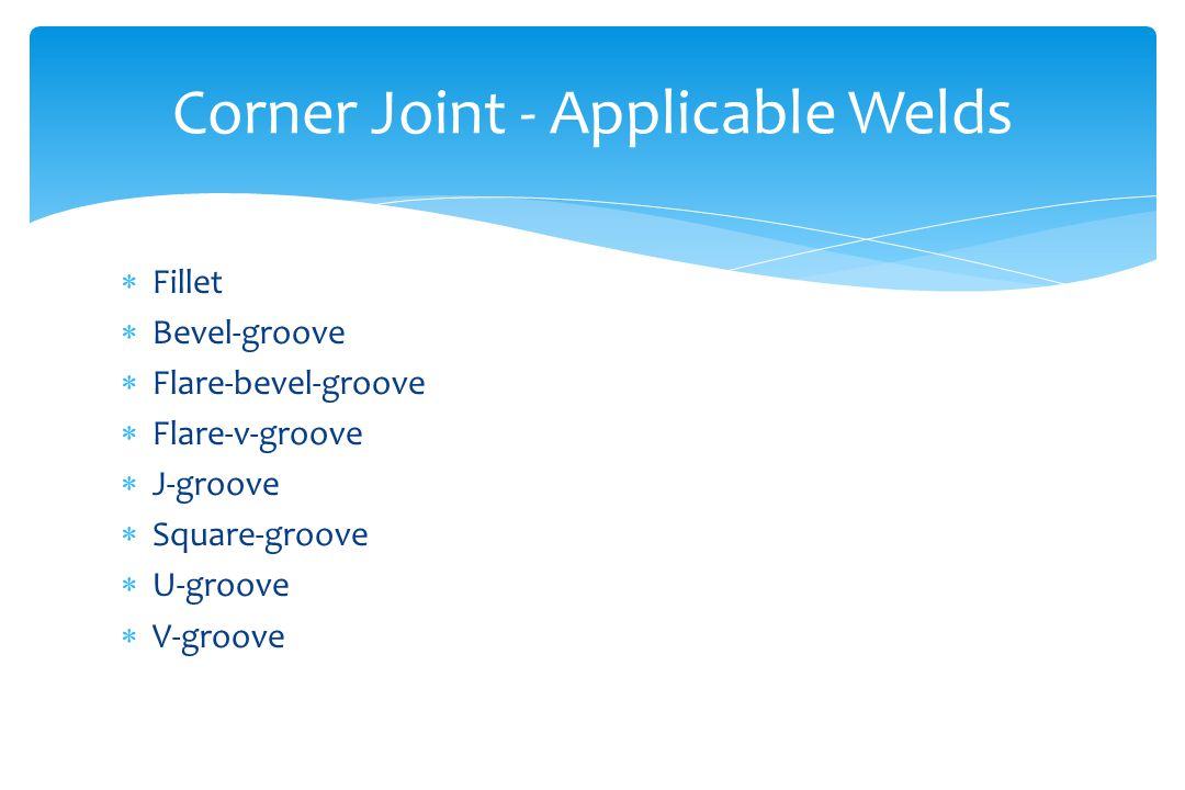 Corner Joint - Applicable Welds