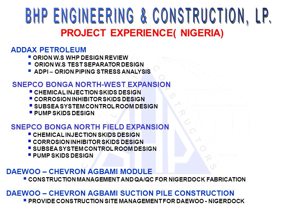 PROJECT EXPERIENCE( NIGERIA)