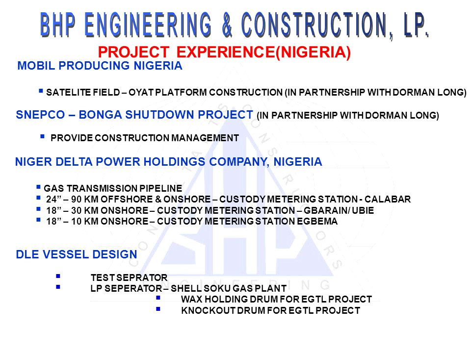 PROJECT EXPERIENCE(NIGERIA)