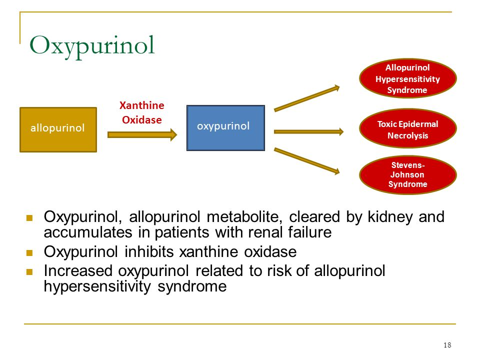 Oxypurinol Allopurinol Hypersensitivity Syndrome. Xanthine. Oxidase. allopurinol. oxypurinol. Toxic Epidermal Necrolysis.