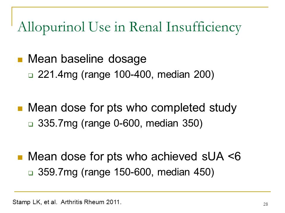 Allopurinol Use in Renal Insufficiency