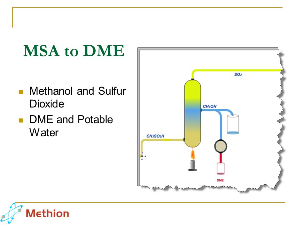 MSA to DME Methanol and Sulfur Dioxide DME and Potable Water